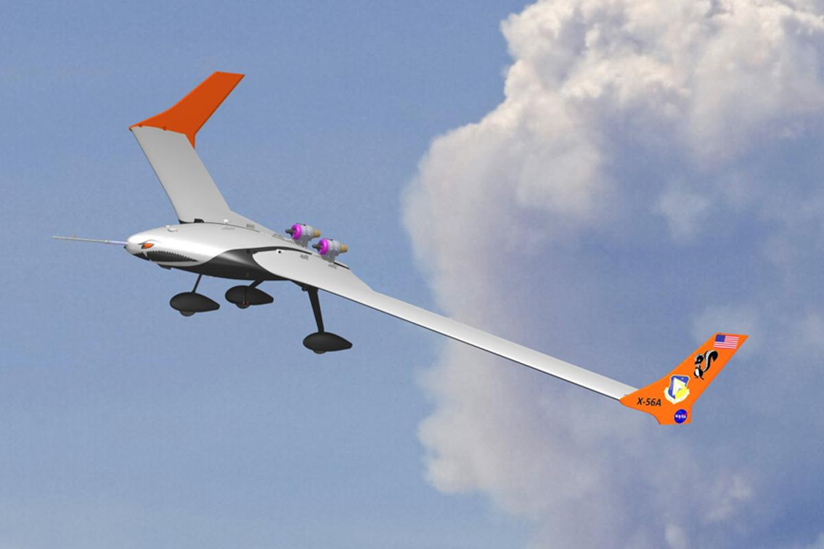 Computer image of the X-56A unmanned modular aircraft that NASA will use to test enabling technologies for new kinds of lightweight, energy-efficient, flexible aircraft (Image: U.S. Air Force)