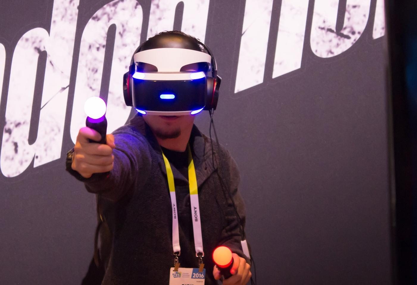 A CES attendee trying out PlayStation VR