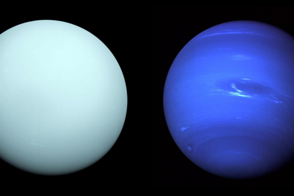 A NASA study has outlined plans to return to Uranus (left) and Neptune (right), to unlock the mysteries of ice giant planets that are common throughout the galaxy