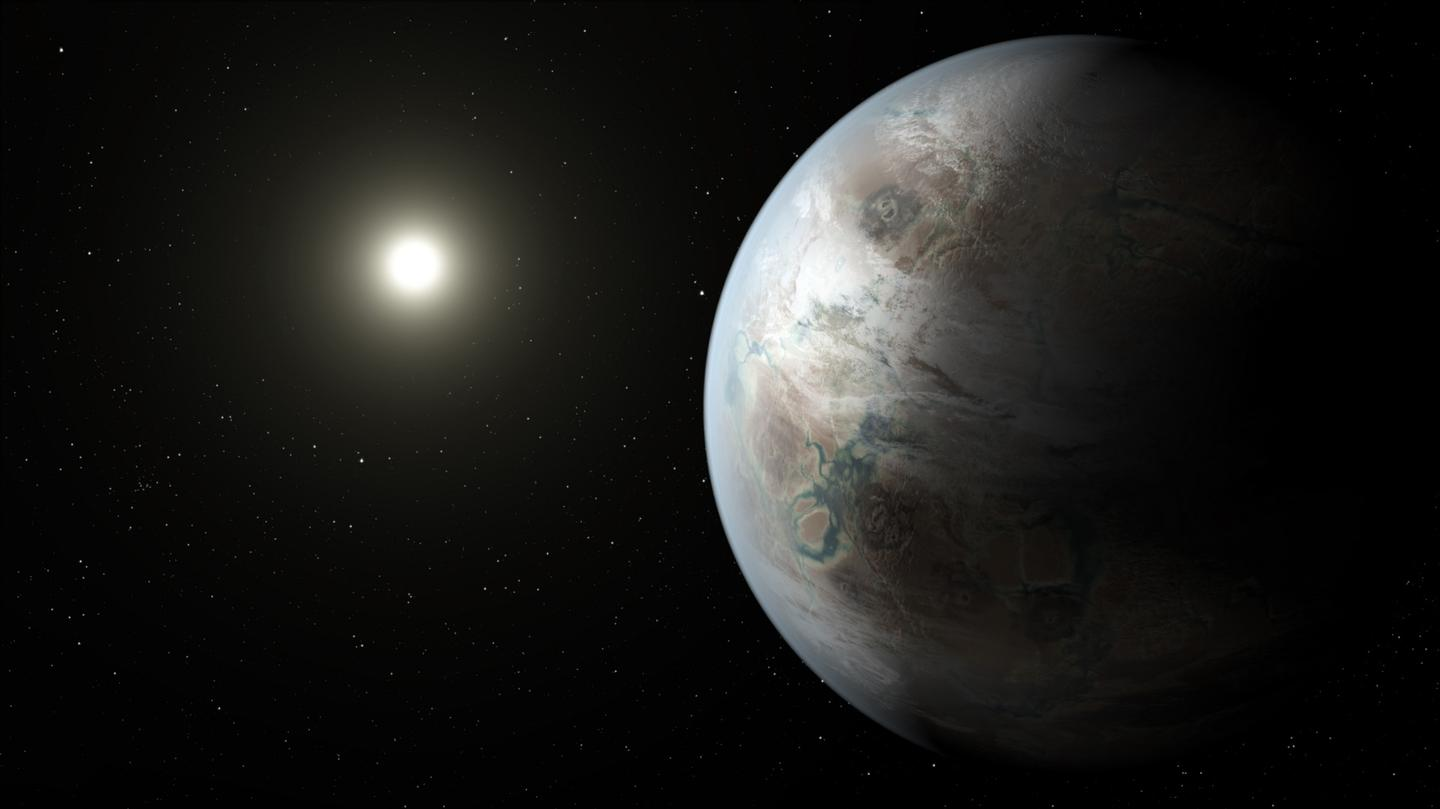 An artist's impression of Kepler-452b, a perfect example of an Earth-like exoplanet orbiting a Sun-like star in the Habitable Zone