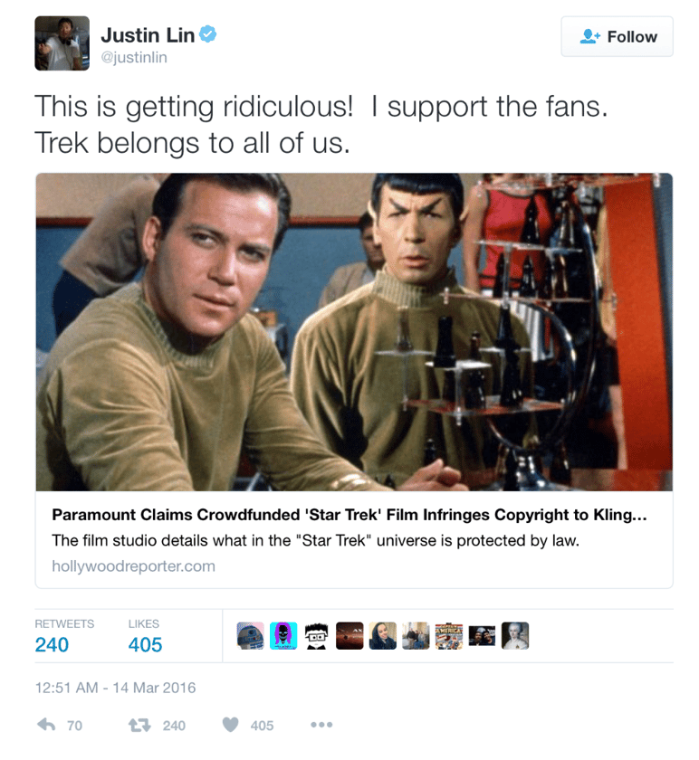 Star Trek: Beyond director Justin Lin's tweet of support to the Axanar filmmakers