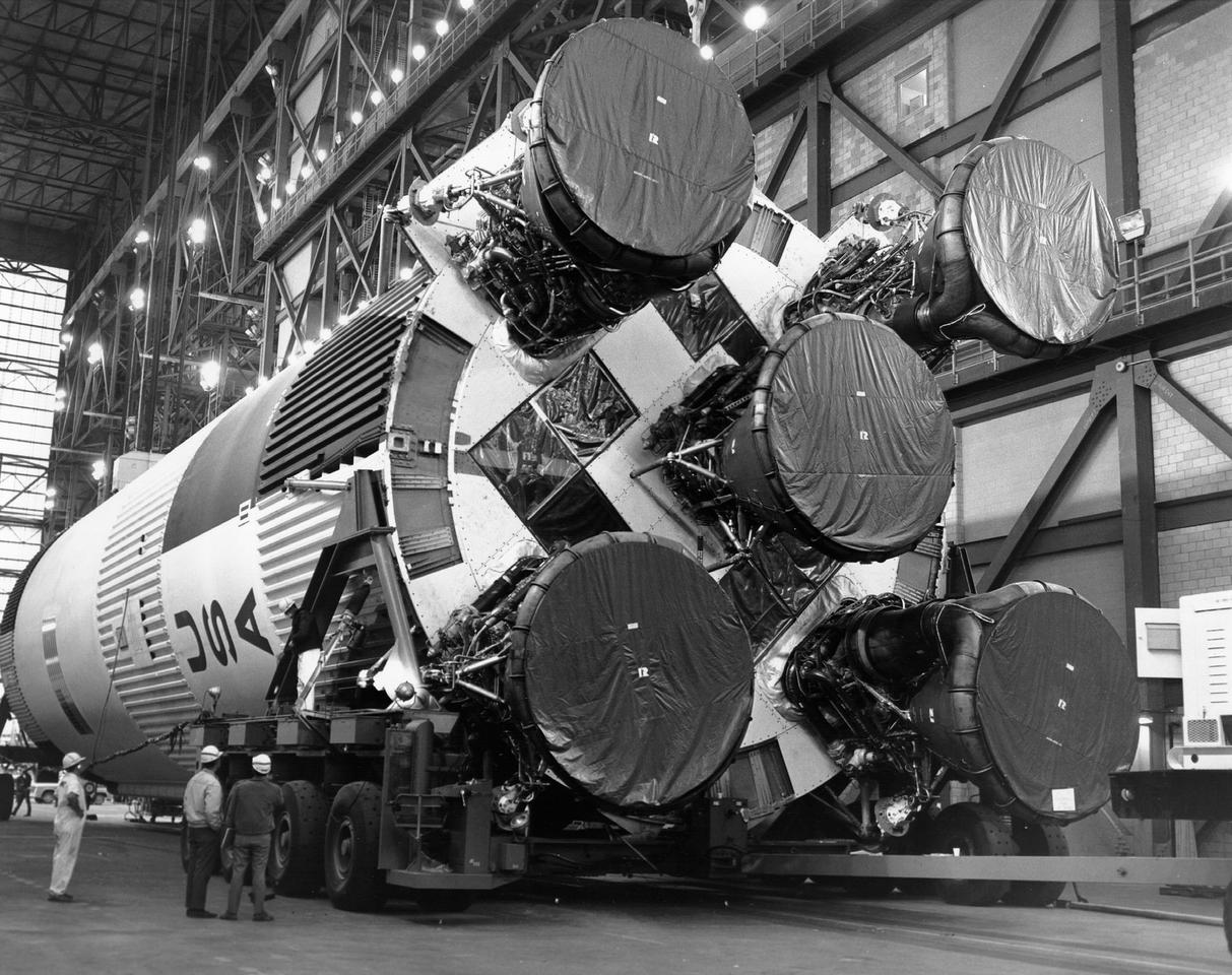 Saturn V first stage showing the F-1 rocket engines (Image: NASA)