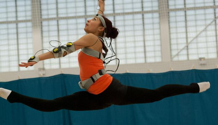 U.K. Olympic hopeful Mimi Cesar using the MotivePro vibrating suit to help perfect her rhythmic gymnastics routine