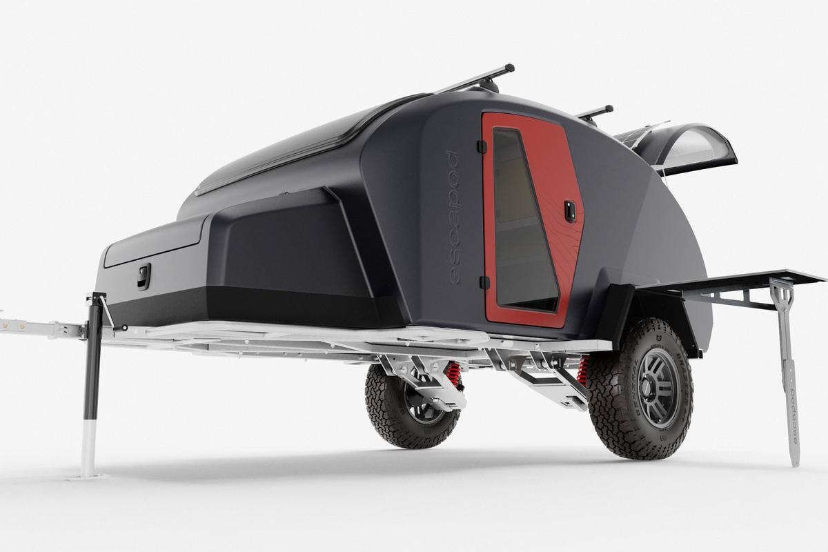 Escapod goes full composite and hot-dipped galvanized steel with the new Topo2 off-road teardrop trailer