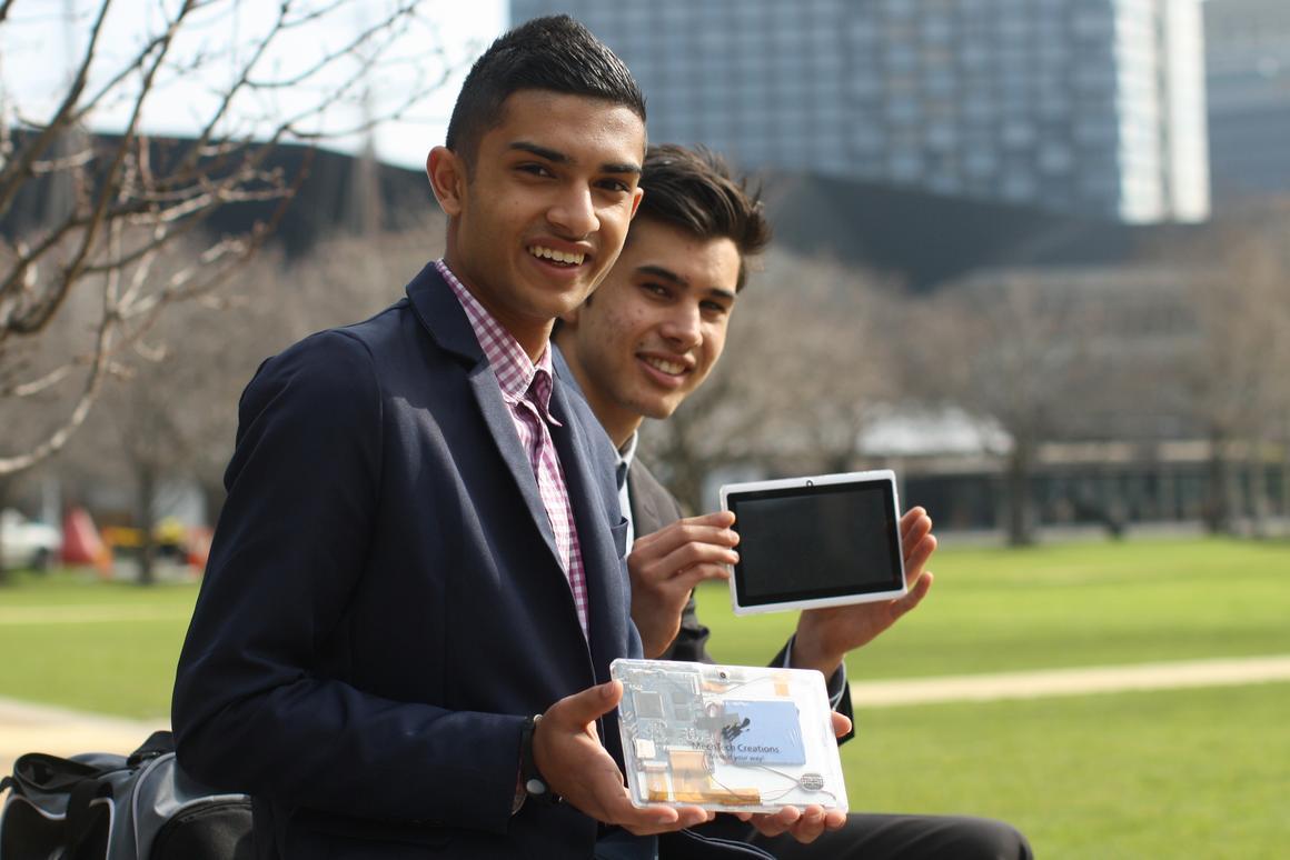 Taj Pabari (left) has developed DIY tablet kits designed as educational tools for kids