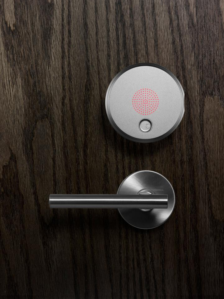 The August Smart Lock fits onto existing deadbolts