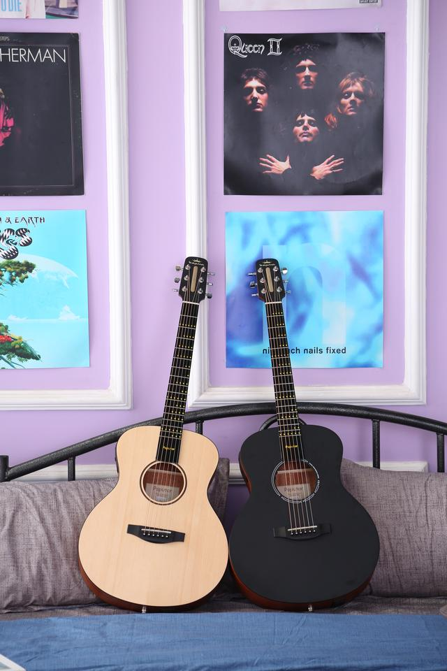 The Poputar comes with a spruce top and mahogany sides and back, and will be available in natural wood of black finishes