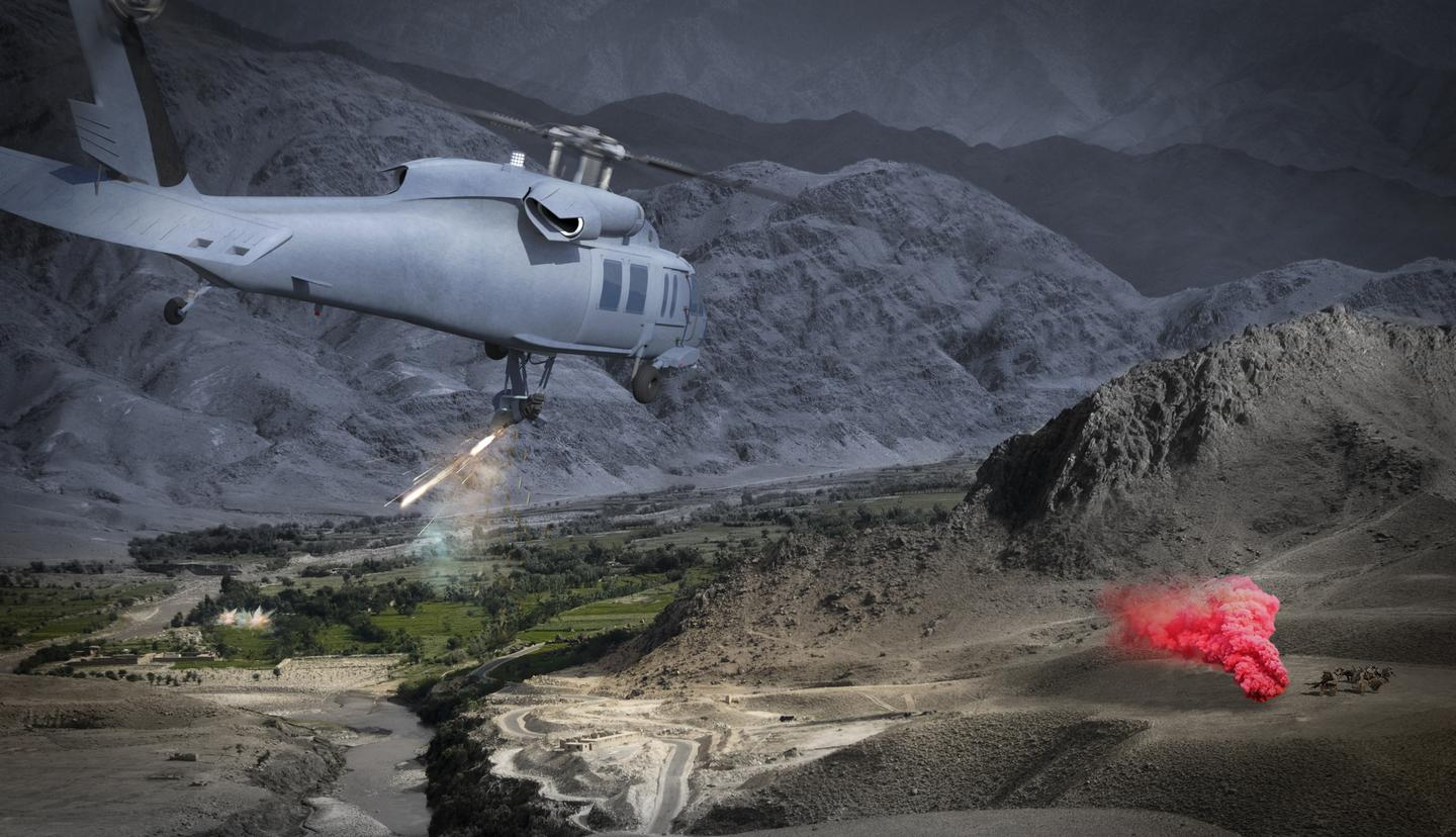 Artist's concept of Duke Airborne Systems' Robotic Weapon System (RWS) in action