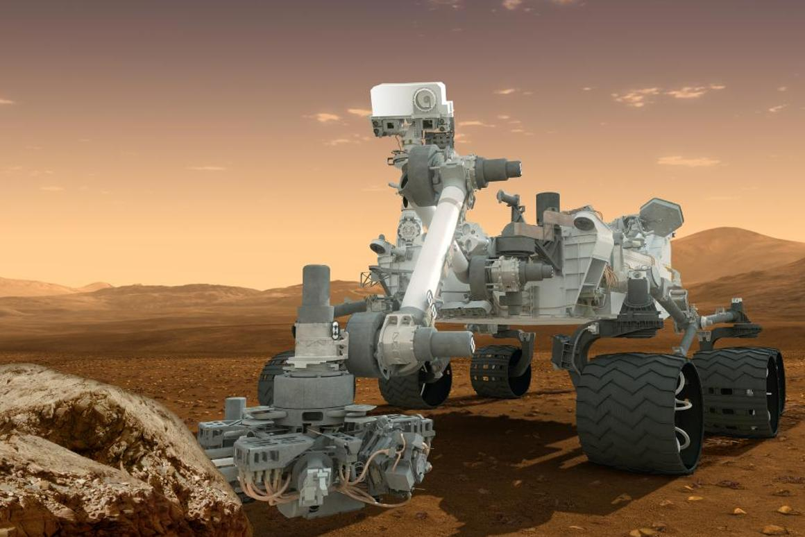 Artist's concept features NASA's Curiosity rover, which checked in foursquare this week (Image: NASA/JPL-Caltech)