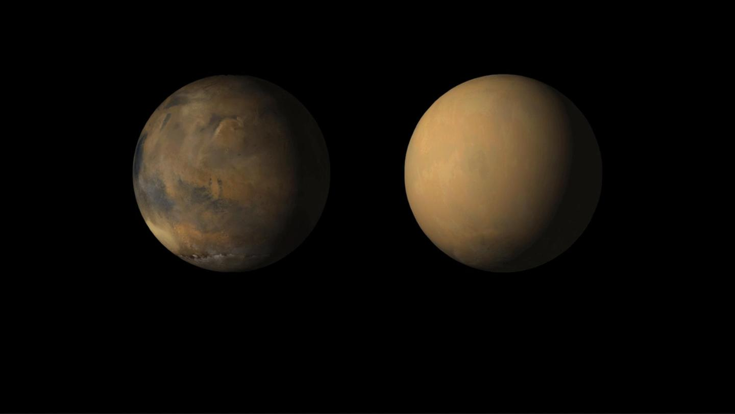 Side-by-side images shows how the 2018 global dust storm enveloped the Red Planet