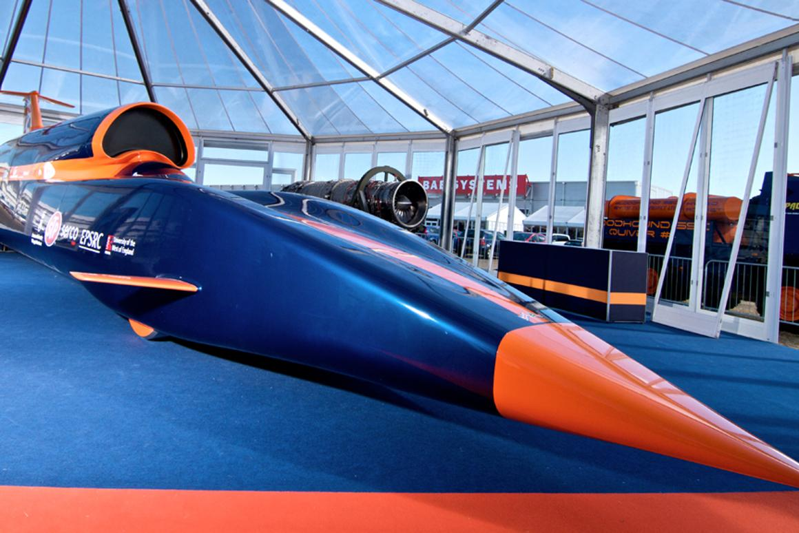 The full size, full length BLOODHOUND SSC show car unveiled at Farnborough (Image: Nick Haselwood)