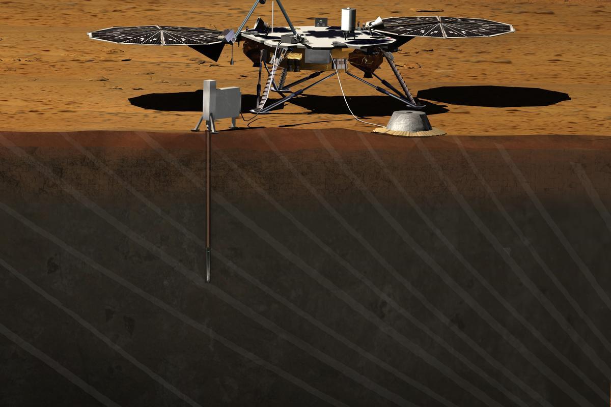 Artist's concept of InSight on Mars (image: JPL/NASA)