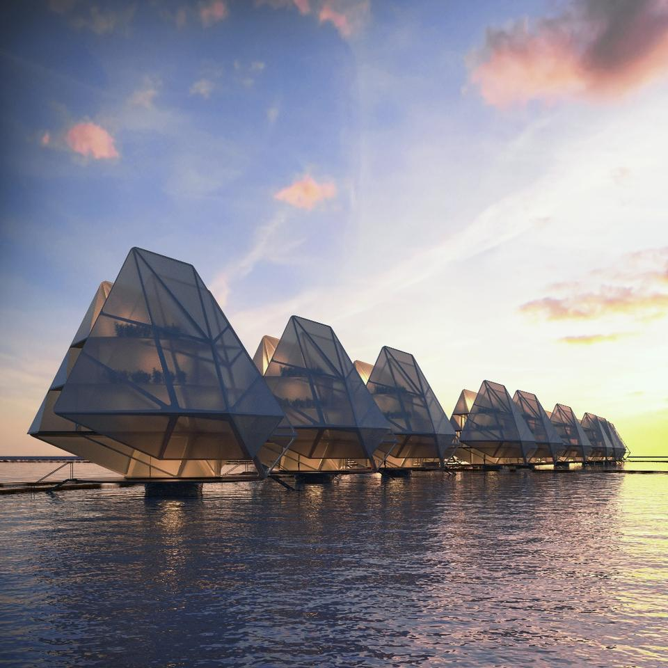 Winner of the Grand Prix in the Innovation and Architecture for the Sea category is Currents for Currents, Blue is the new green. A modular housing solution for vulnerable coastal communities featuring entirely off-grid units that harvest solar and tidal power.