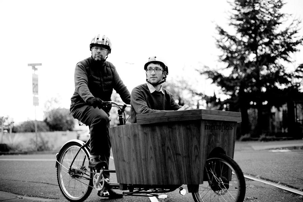 The Pedal Powered Talk Show is an internet TV program, incorporating a set that is pedaled to the location of each interview (Photo: Daniel Stark Photography)