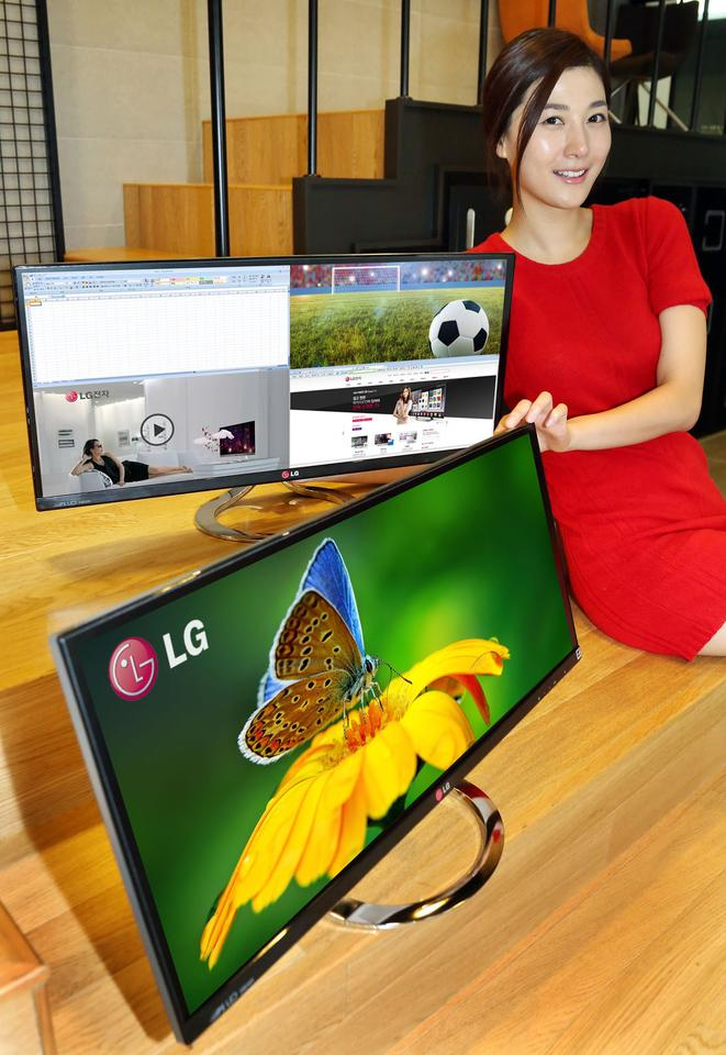 LG's EA93 offers 100 percent sRGB color space expression and can divide the screen real estate into two or four segments, each behaving like a separate display