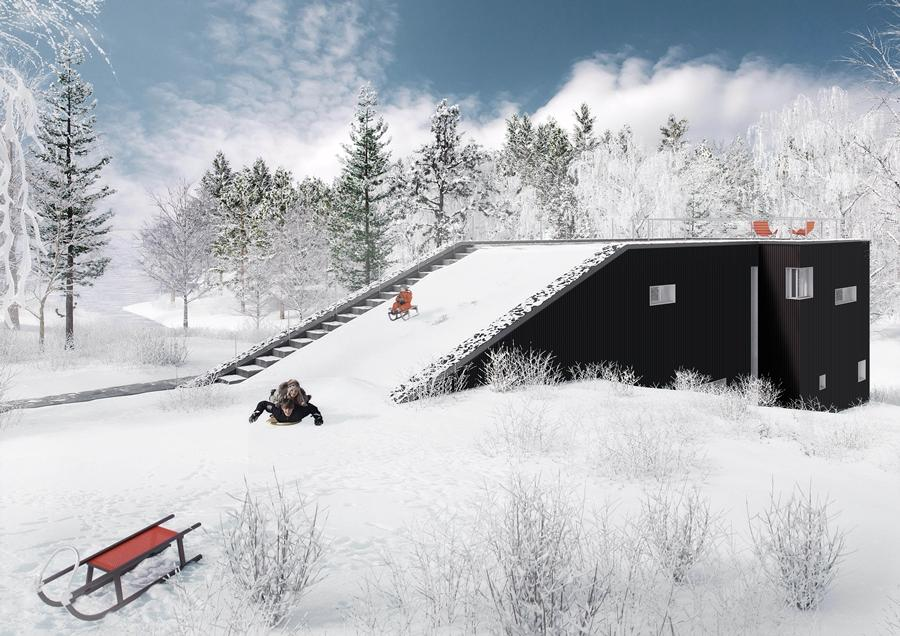 As well as acting as a sledding hill when it snows, the Pulkabacken House ramp leads up to a party deck