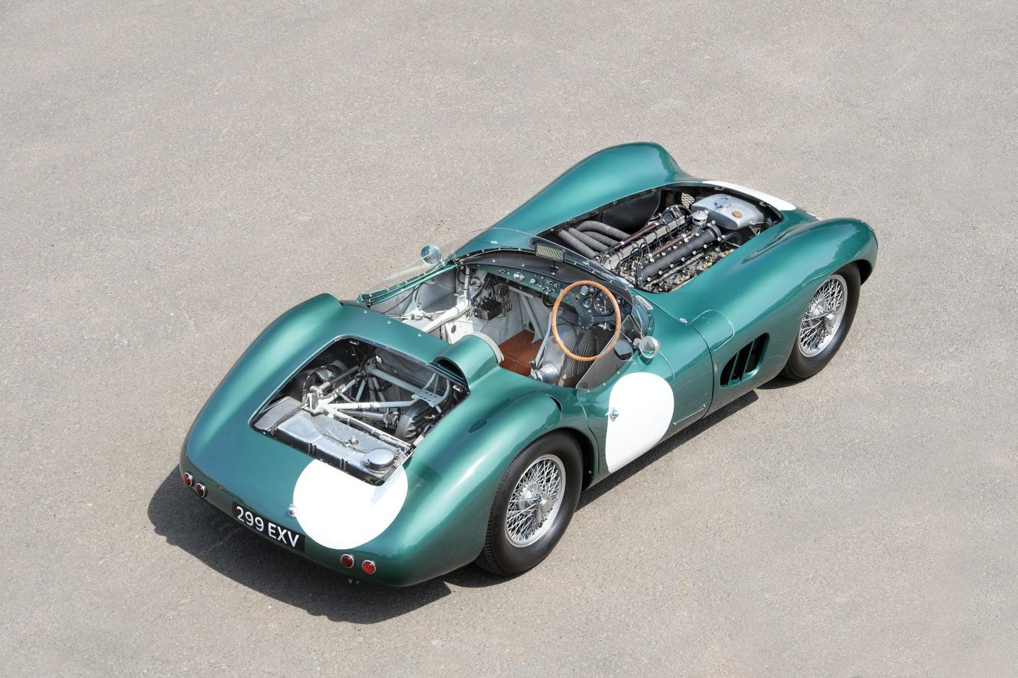 The Aston Martin DBR1 was the stand-out sportscar in the world in 1959, winningthe 24 Hour of Le Mans, the1000 km Nürburgring race and the 1959World Sportscar Championship. This car was the first one built.