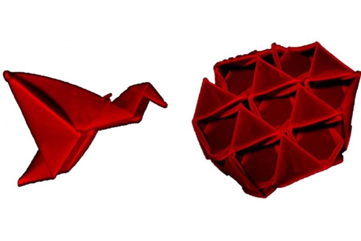 These self-folded origami structures created using a technique developed at UMass Amhurst measure slightly less than one millimeter across