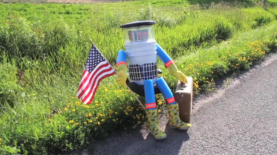 hitchBOT, prior to its trashing in Philly