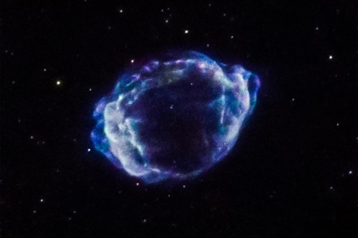 Image of supernova remnant G1.9+0.3 composed from data harvested by the Chandra X-ray Observatory