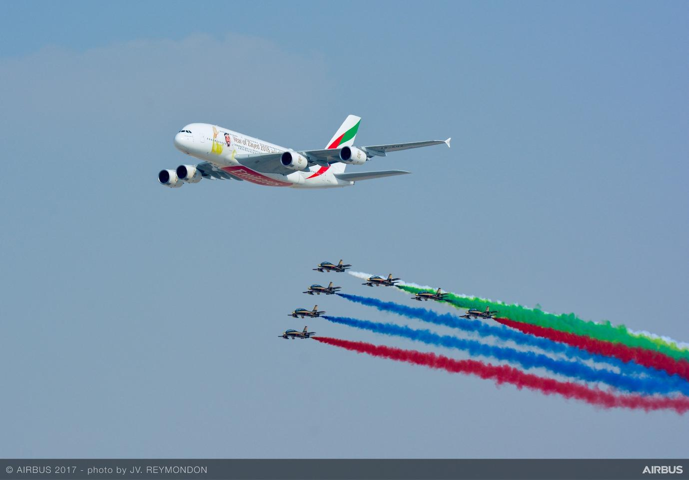 An A380 at the2017 Dubai Air Show