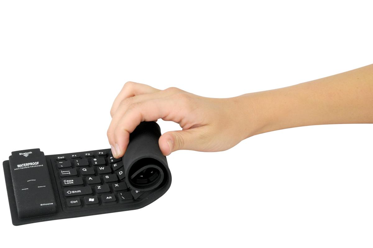 The freeKEY splash-proof, wireless keyboard can be rolled up and stowed away in a pocket or laptop bag when not in use