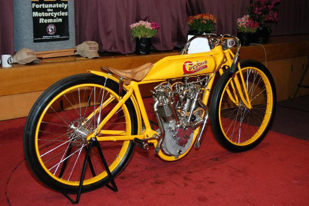This near identical 1915 Cyclone Board Track Racer set a world record for a motorcycle at auction when it sold for US$551,200 at a Mid-America auction in July, 2008