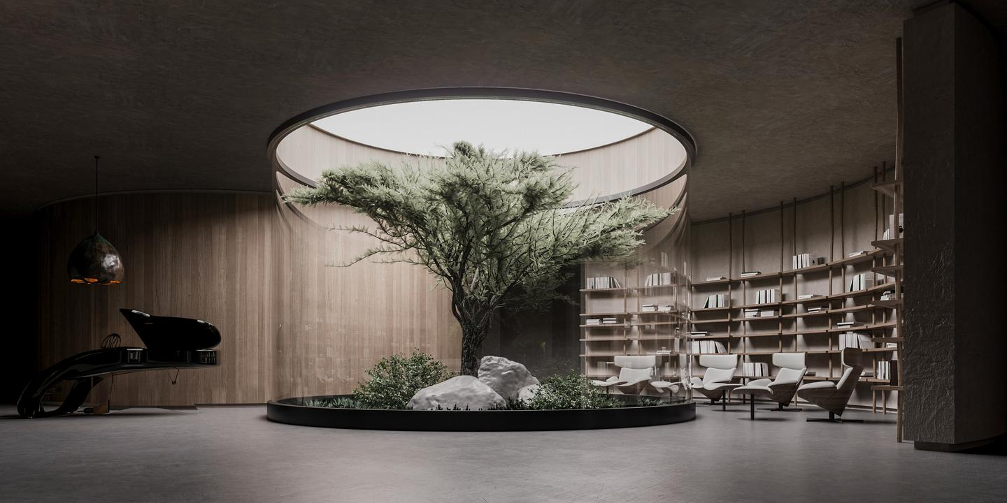Plan B's living area would include an enclosed tree
