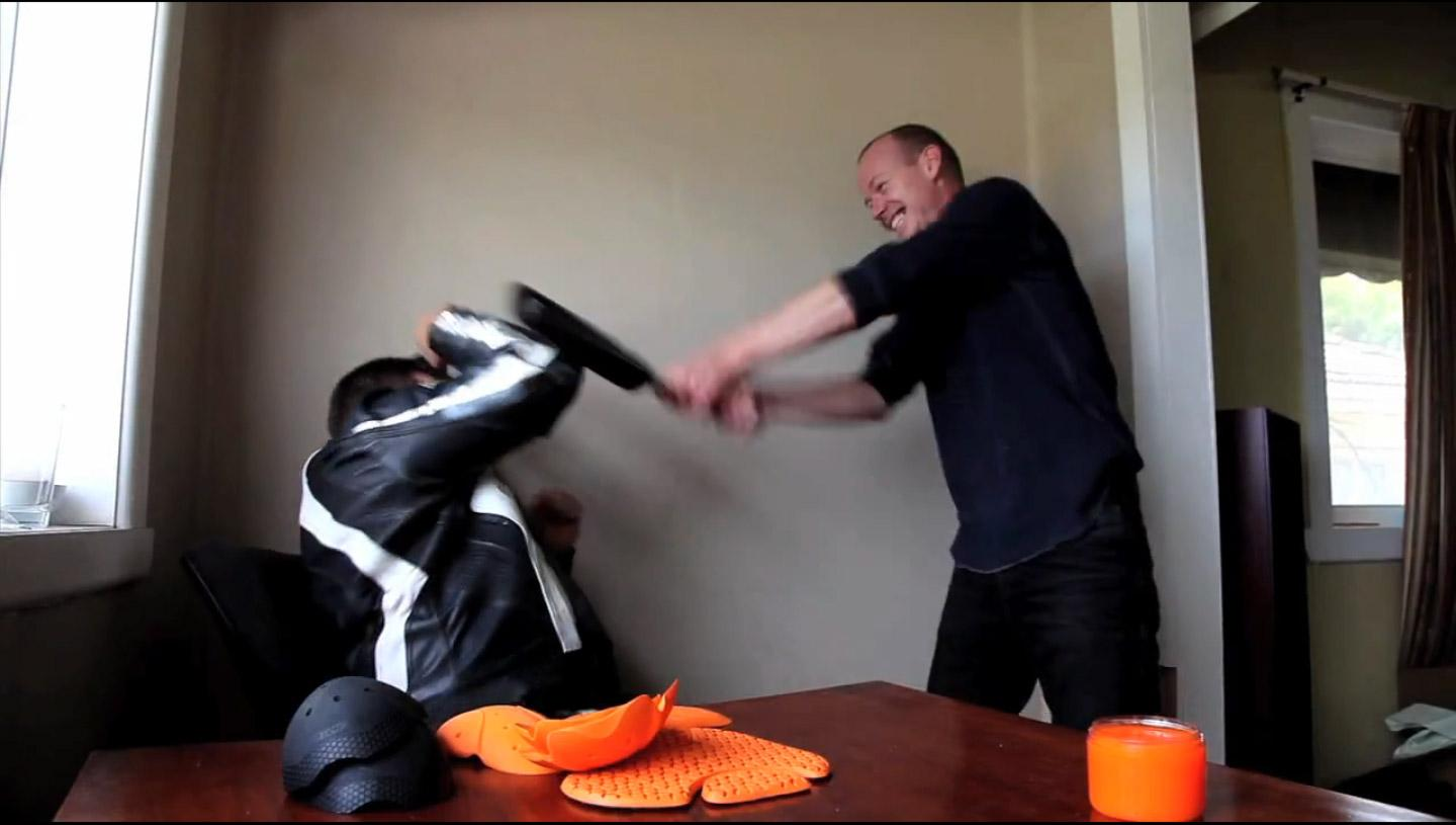 Noel's loving his job today: trauma testing d3o's advanced motorcycle armour with a very non-advanced frying pan.