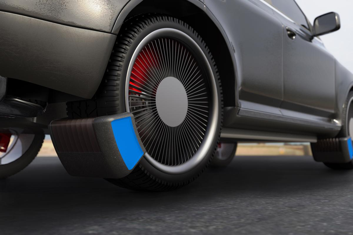 The device is designed to mount on the car's steering knuckle