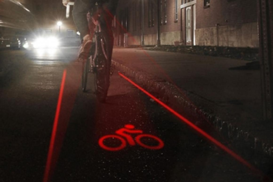 LightLane creates a brightly-lit lane around and behind cyclists to improve safety at night