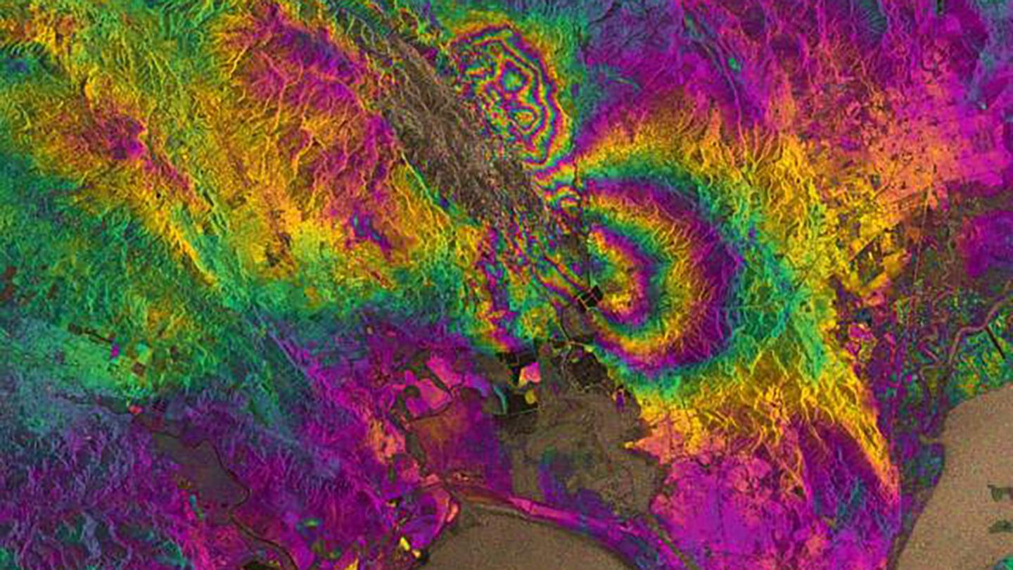 The technique uses satellite radar imagery to observe ground displacement, giving researchers rapid insights into the impact of earthquakes (Image: ESA/University of Iowa)