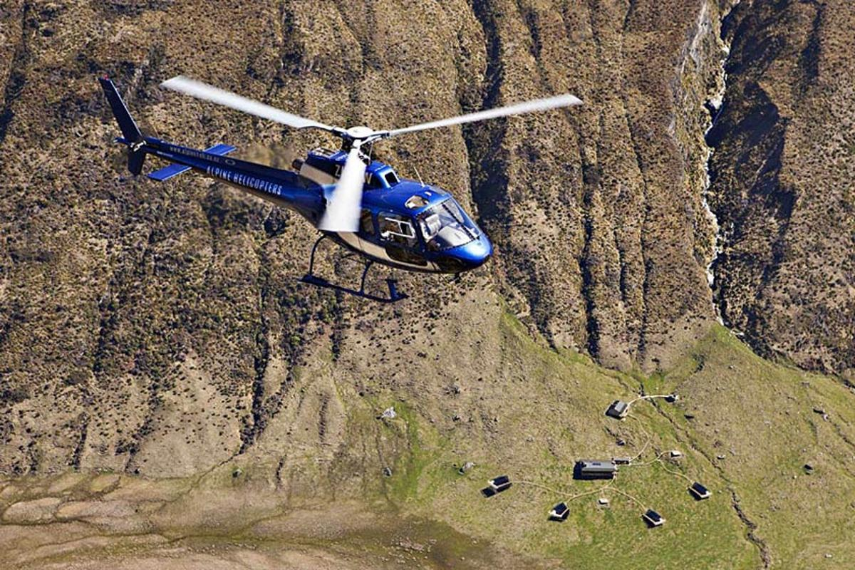 Minaret Station is only accessible by air, where guests are flown in by helicopter before being escorted to their luxuriously furnished tented suite