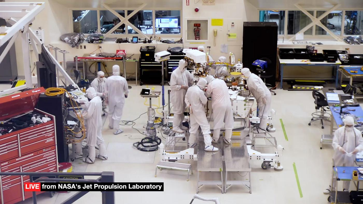 The webcam is mounted on a viewing gallery above the clean room floor