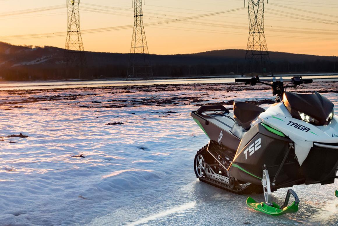 Taiga's TS2 electric snowmobile has a range of 100 km and can manage 0-100 km/h in 3 seconds
