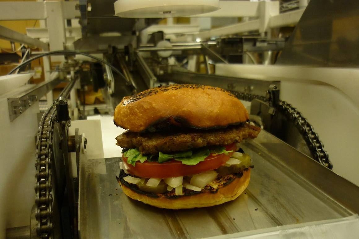A hamburger made using Momentum Machines' automated hamburger maker