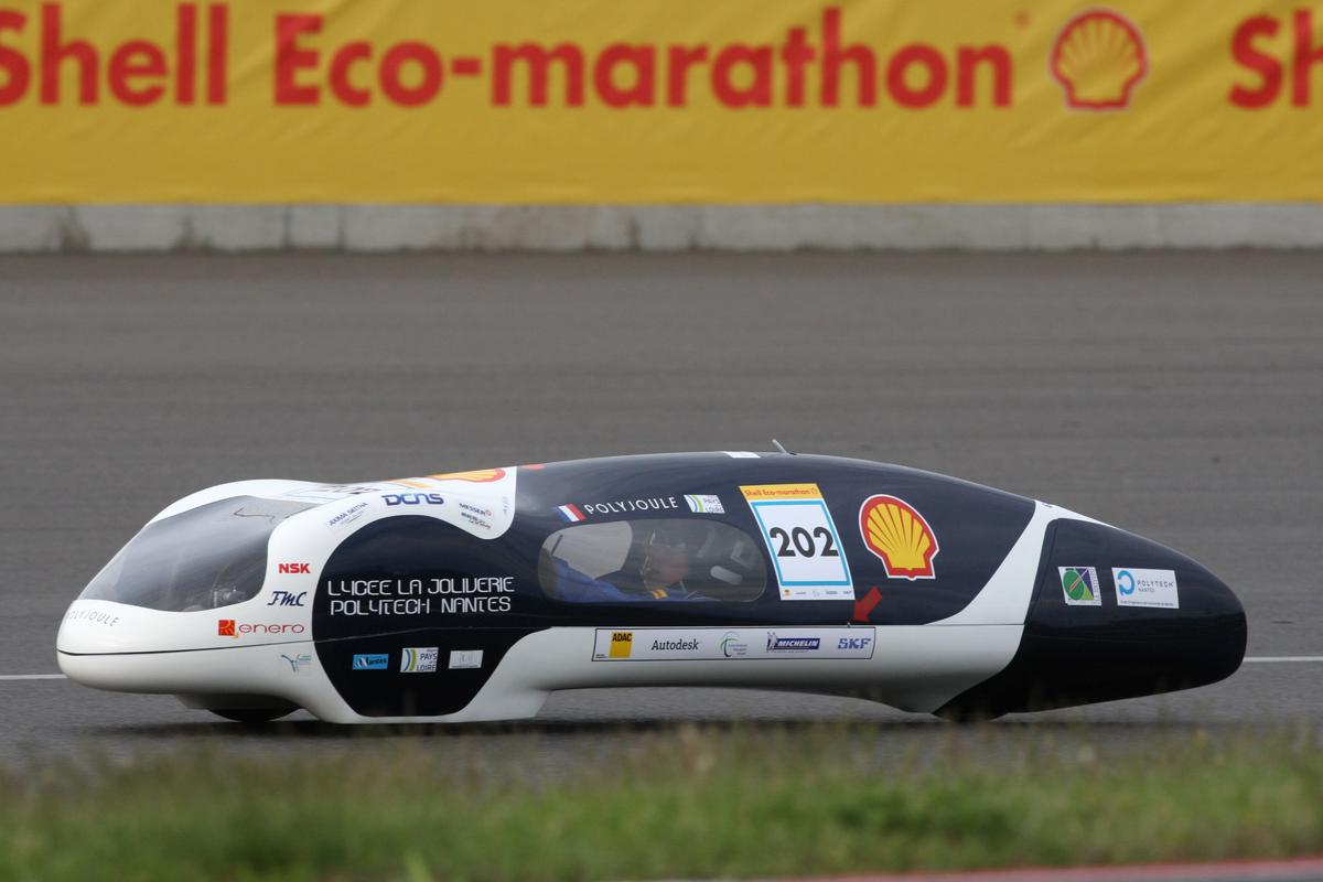 A five year Shell Eco Marathon fuel efficiency record has been smashed by a team of French students.