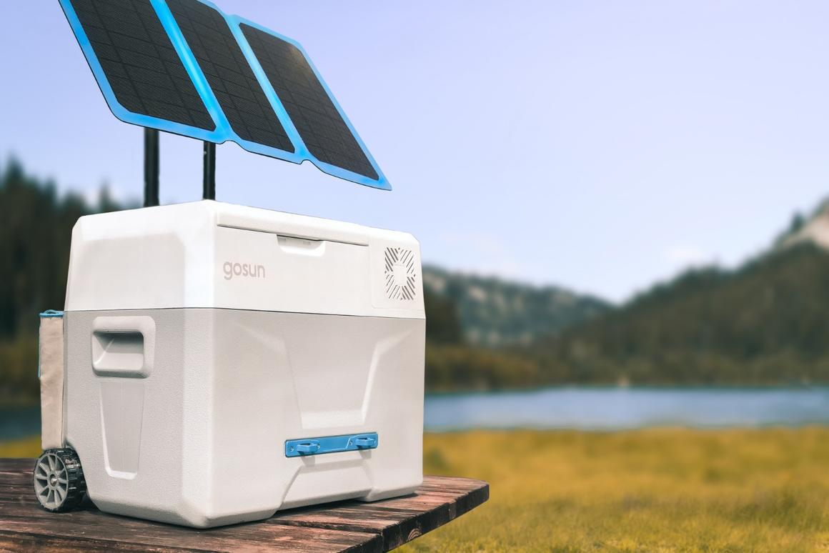 GoSun Chill, shown with the optional GoSun Flex solar panel