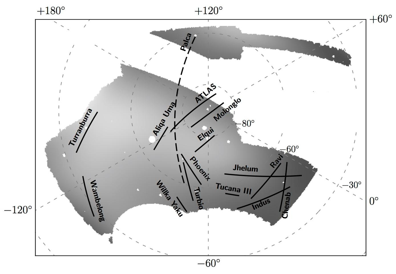 An annotated diagram of the Dark Energy Survey's sky map, indicating where the newly discovered stellar streams lie
