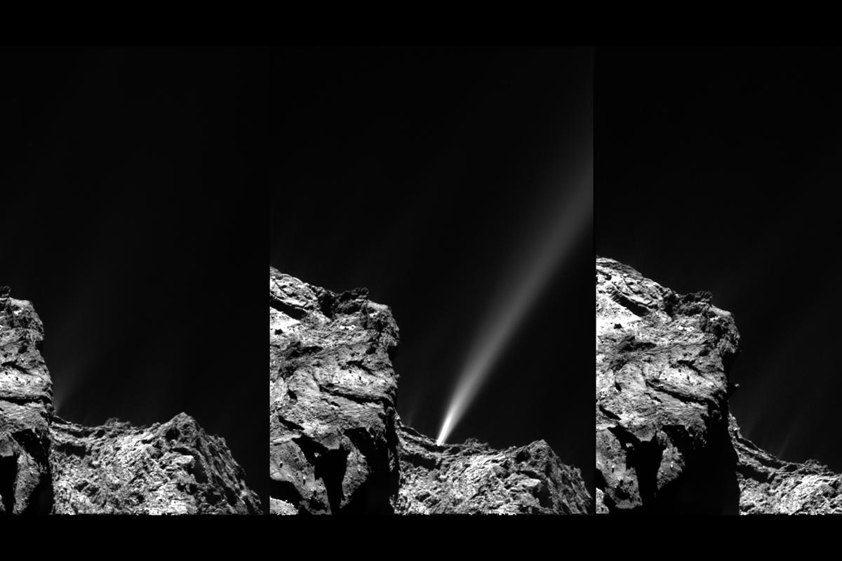 The event captured in three chronological images – the image on the left was captured at 13:06 GMT, middle 13:24 GMT and right 13:42 GMT