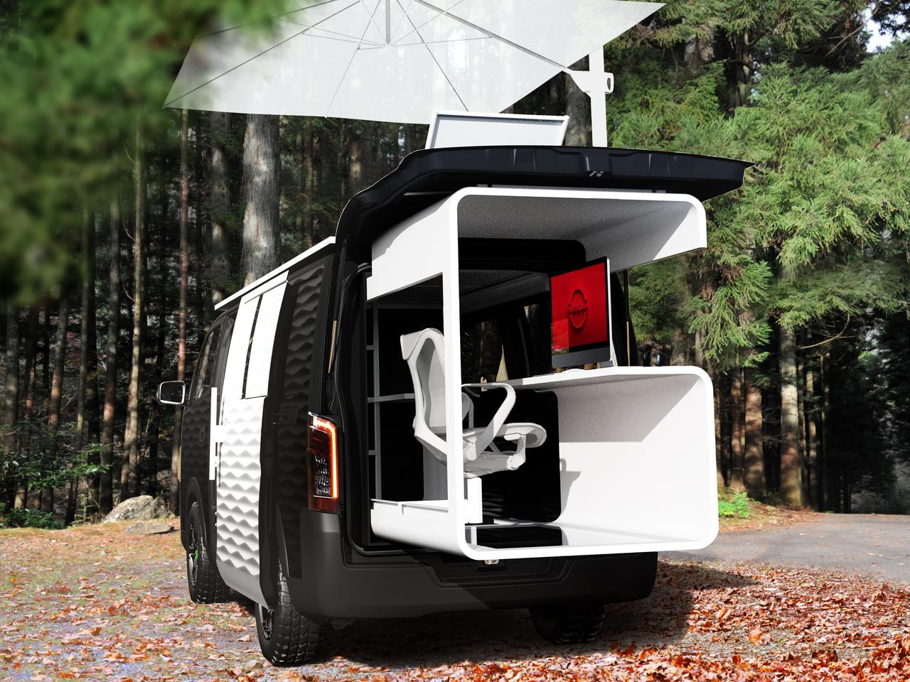 Work inside or outside with Nissan's NV350 Office Pod Concept