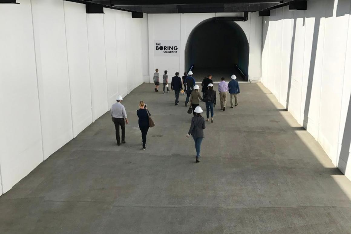 Opening to a test tunnel at The Boring Company headquarters in California