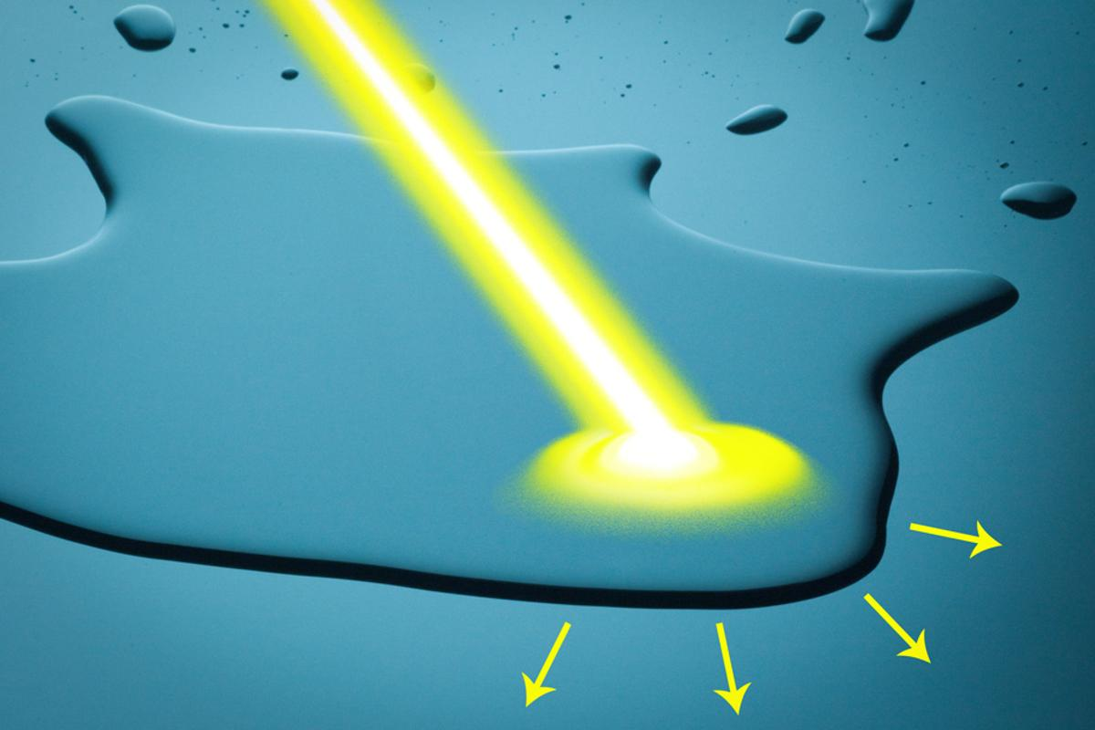 A new system developed by MIT engineers makes it possible to control the way water moves over a surface using only light