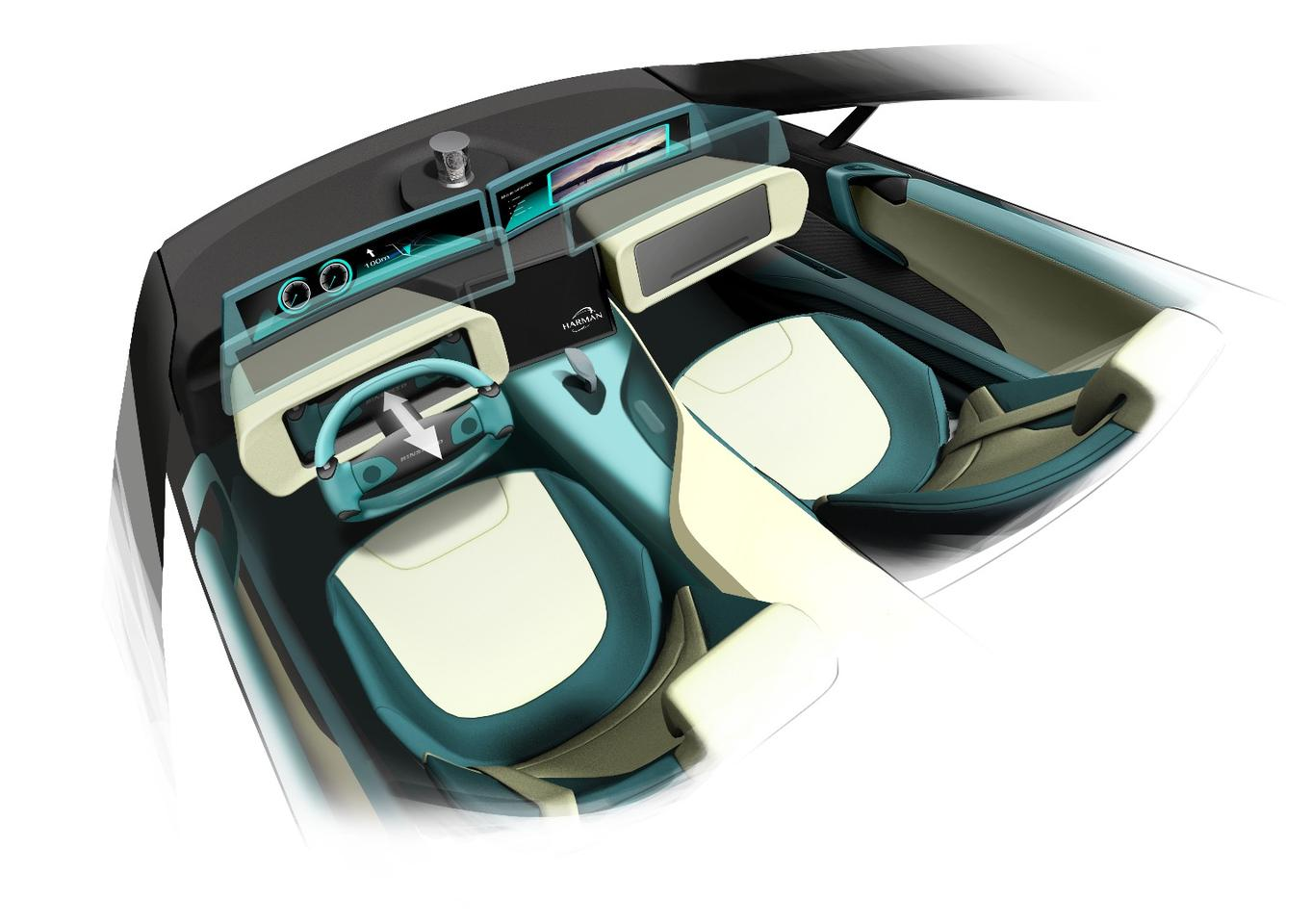 Inside, the dashboard transforms from driving to autonomous mode