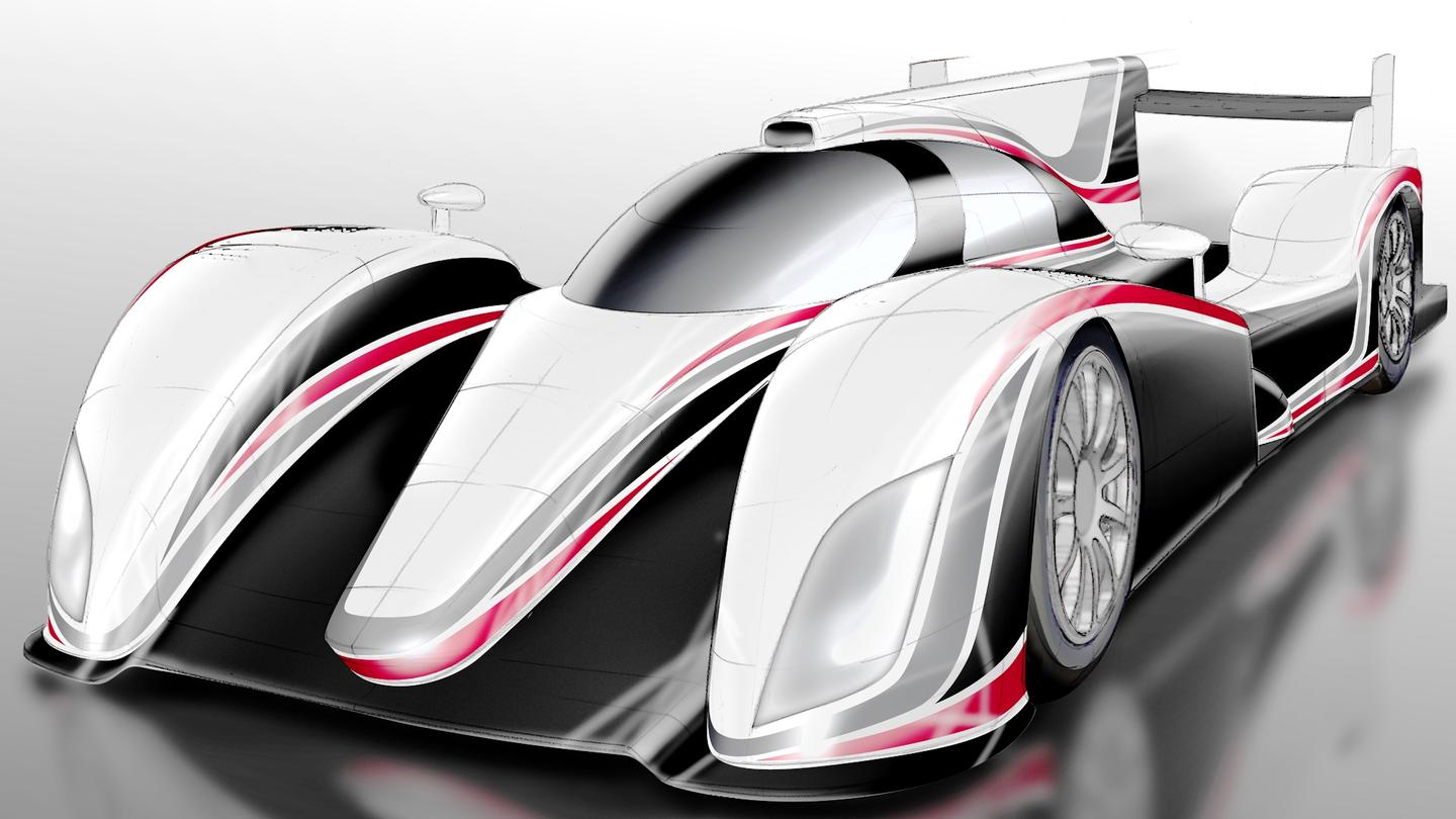 The first sketch of the new Toyota hybrid LMP1 car