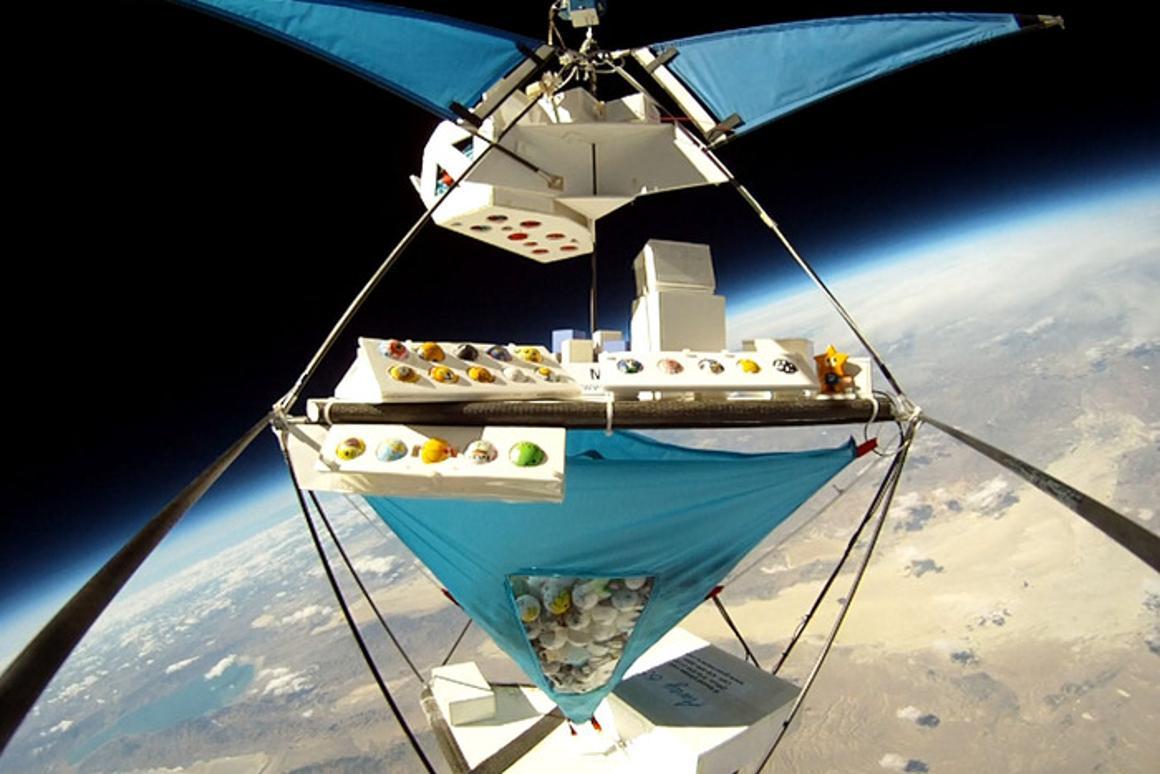A batch of PongSats aboard one of JP Aerospace's High Racks