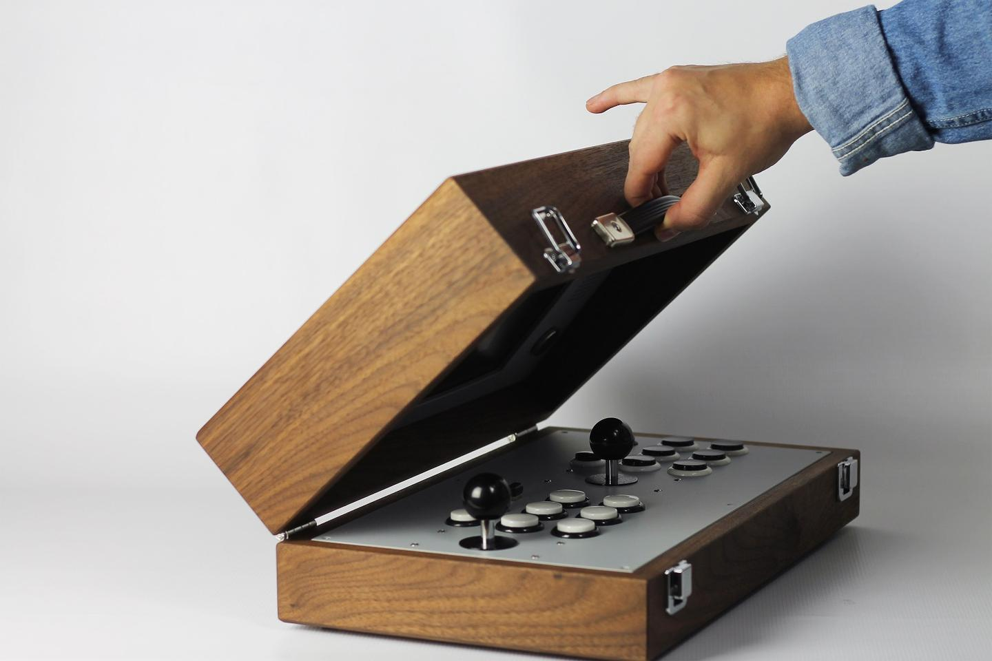 The Cary42: A two-player game console in a handmade wood case that comes with 100 games pre-installed, but can be loaded with up to 10,000 emulated games