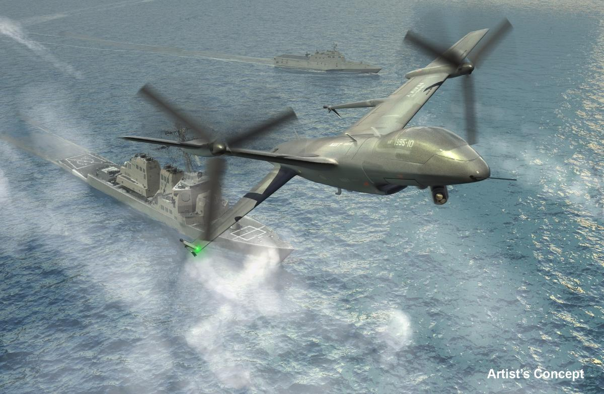 Unlike this DARPA artist's concept, Northrop Grumman Tern would be a flying wing design