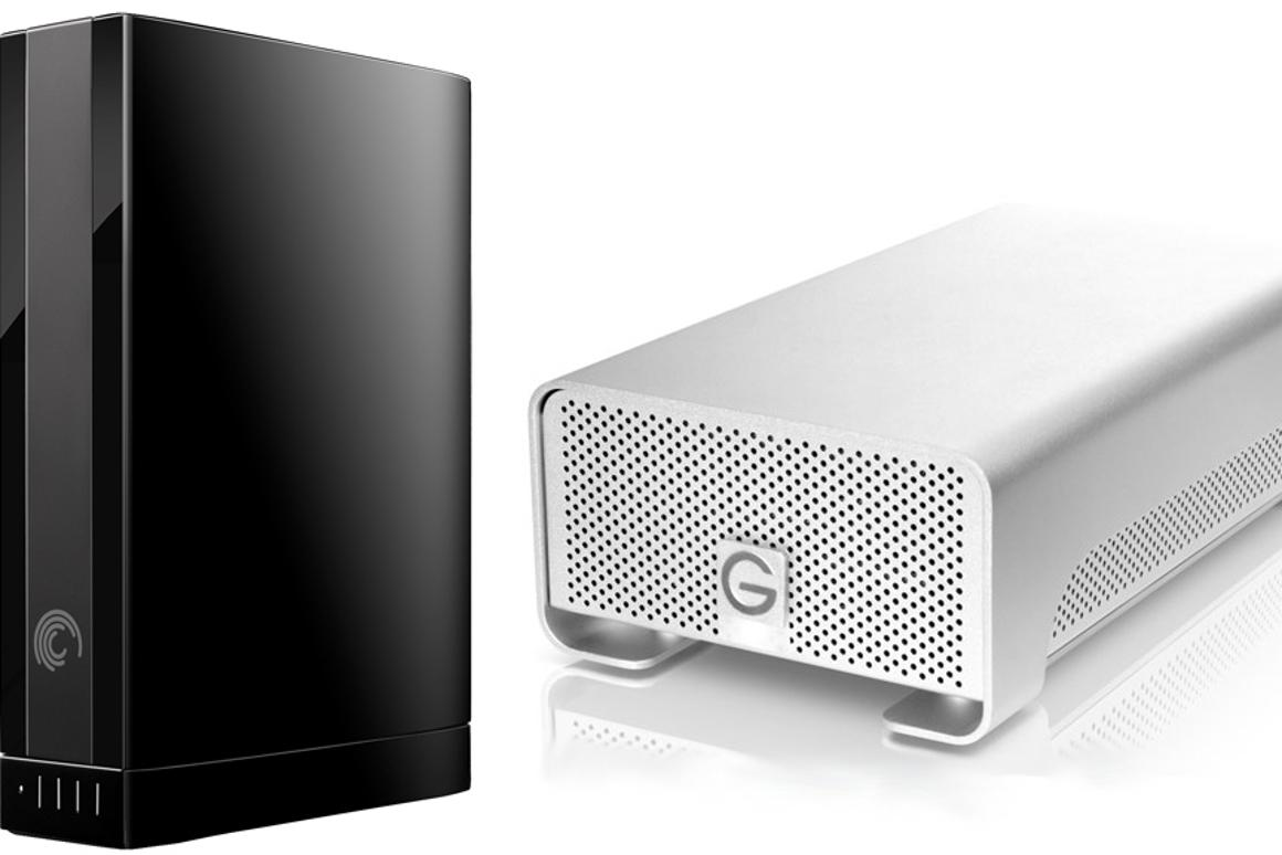 Seagate's 4TB GoFlex Desk Drive and Hitachi GST's 4TB-based G-RAID drive (not to relative scale)