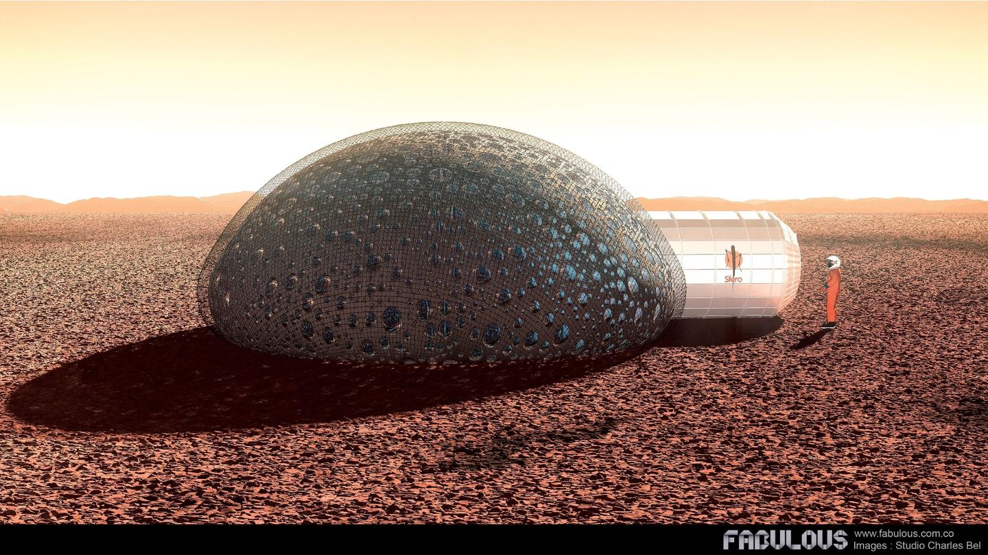 Resembling a futuristic igloo from the surface, the Sfero shelter would be partially buried beneath the ground